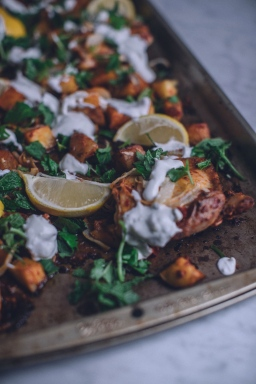 Harissa Chicken & Potatoes with Greek Yogurt Sauce